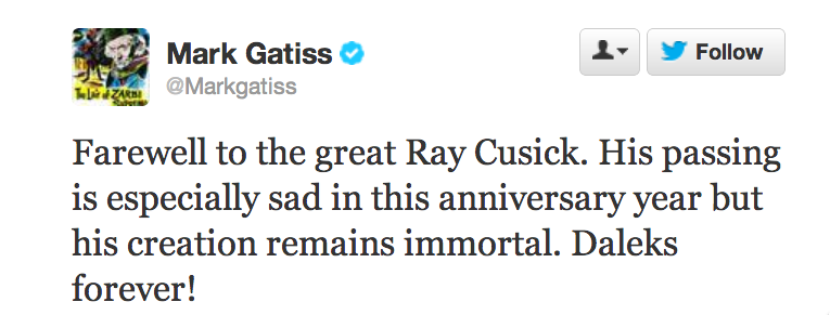Mark Gatiss farewell