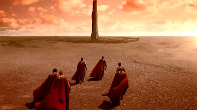 Arthur and his Knights journey to the Dark Tower.
