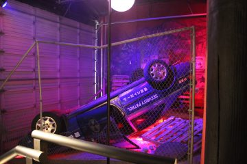 Overturned police car from the new Godzilla movie.