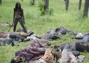 Walkers and Michonne (Danai Gurira) - The Walking Dead - Season 4, Episode 9 Photo Credit: Gene Page/AMC