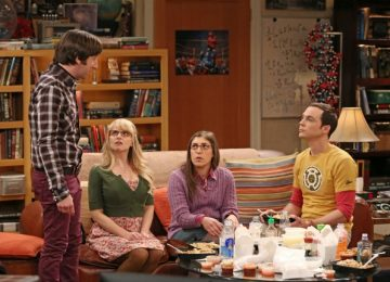 After the insults fly, Bernadette tries to broker the peace between Wolowitz and Sheldon. Howard (Simon Helberg), Bernadette (Melissa Rauch), Amy (Mayim Bialik) and Sheldon (Jim Parsons) - The Big Bang Theory - Season 7 Episode 17 Photo credit: Michael Yarish/Warner Bros. Entertainment Inc.