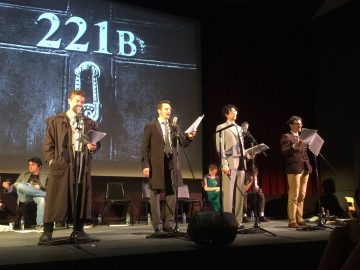 James Marsters, Seamus Dever, Geoffrey Arend, and Henri Lubatti perform in LA Theatre Works' production of The Hound of the Baskervilles. Photo Credit: LA Theatre Works