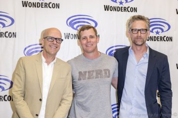 Wayward Pines Exec Producer Donald DeLine with Actors Tim Griffin and Reed Diamond Photo by Eugene Powers