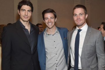 NEW YORK, NY - MAY 14:  (L-R) Actors Brandon Routh, Grant Gustin and Stephen Amell attend the CW Network's 2015 Upfront at the London Hotel on May 14, 2015 in New York City.  (Photo by Jamie McCarthy/Getty Images for The CW)