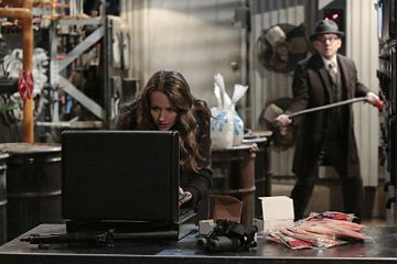 """""""YHWH"""" -- Finch (Michael Emerson, right) and Root (Amy Acker, left) race to save The Machine, which has been located by the rival AI, Samaritan, while Reese is caught in the middle of the final showdown between rival crime bosses Elias and Dominic, on the fourth season finale of PERSON OF INTEREST, Tuesday, May 5 (10:01-11:00 PM, ET/PT) on the CBS Television Network.  Photo: Giovanni Rufino/Warner Bros. Entertainment Inc. © 2015 WBEI. All rights reserved."""