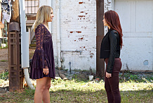 """The Originals -- """"The Other Girl in New Orleans"""" -- Image Number: OG308b_0034.jpg -- Pictured (L-R): Leah Pipes as Cami and Rebecca Breeds as Aurora -- Photo: Annette Brown/The CW -- © 2015 The CW Network, LLC. All rights reserved."""