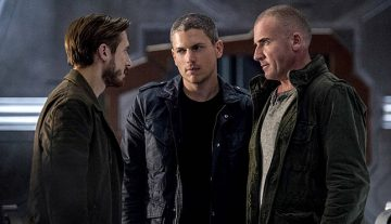 "DC's Legends of Tomorrow -- ""Blood Ties"" -- Image LGN103A_0160b.jpg -- Pictured (L-R): Arthur Darvill as Rip Hunter, Wentworth Miller as Leonard Snart/Captain Cold and Dominic Purcell as Mick Rory/Heat Wave -- Photo: Cate Cameron/The CW -- © 2016 The CW Network, LLC. All Rights Reserved."