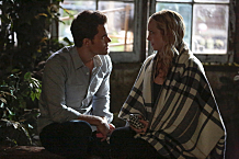 "The Vampire Diaries -- ""This Woman's Work"" -- Image Number: VD713a_0193.jpg -- Pictured (L-R): Paul Wesley as Stefan and Candice King as Caroline -- Photo: Carin Baer/The CW -- © 2016 The CW Network, LLC. All rights reserved."